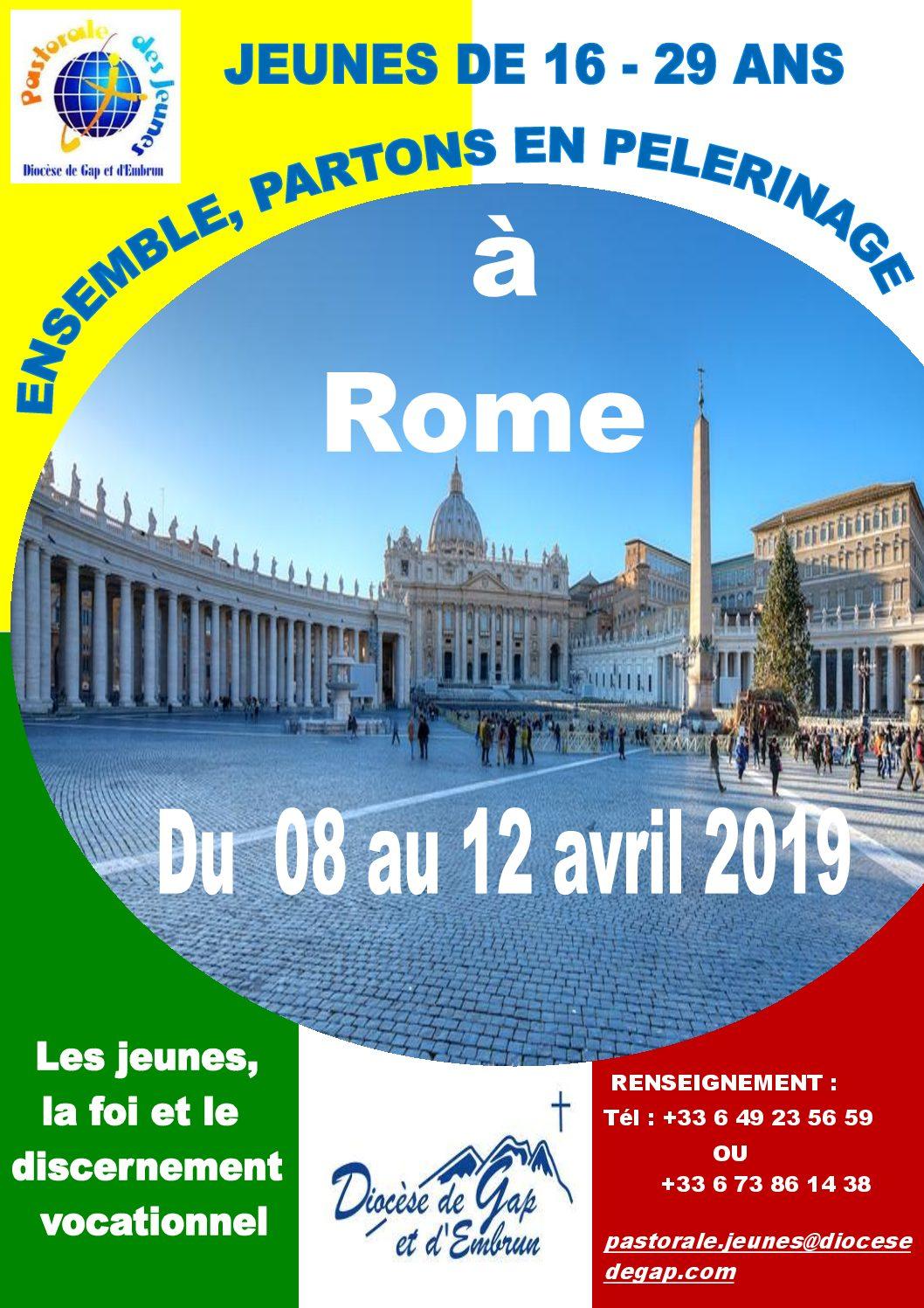 Jeunes de 16 – 29 ans  Ensemble, partons en pélérinage à Rome du 8 au 12 avril 2019